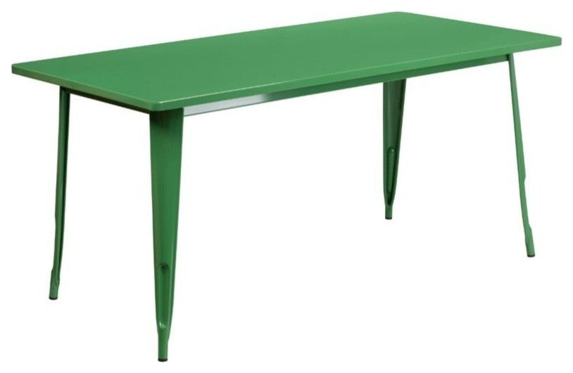 "Commercial Grade 31.5"" x 63"" Rectangular Green Metal Indoor-Outdoor Table"