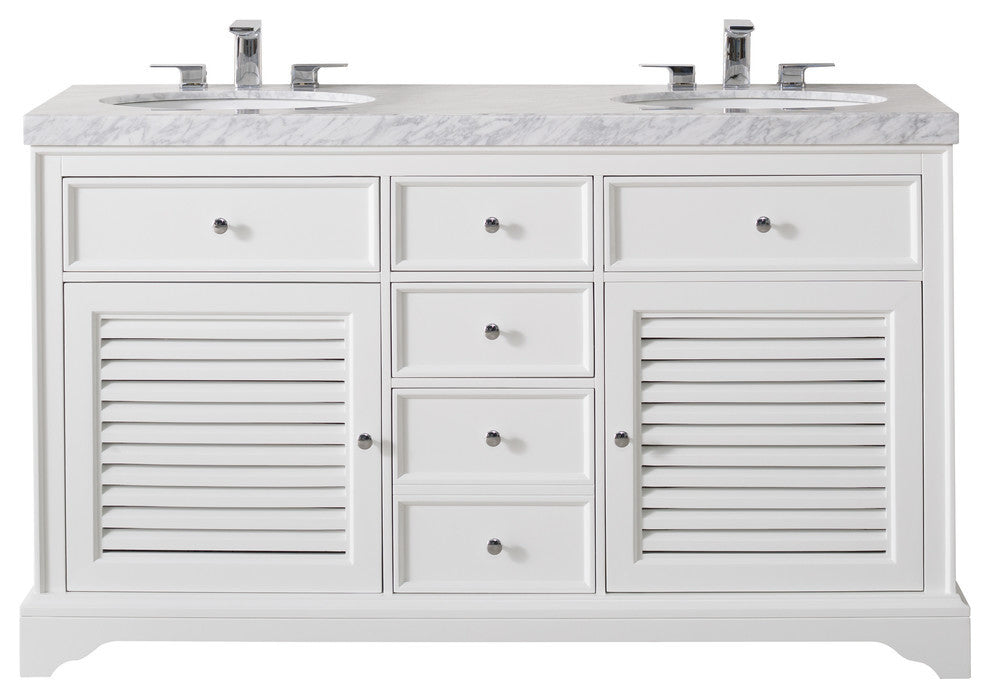 Lotus 60 Inch White Double Sink Bathroom Vanity W/Drains & Faucets-Chrome - Pot Racks Plus