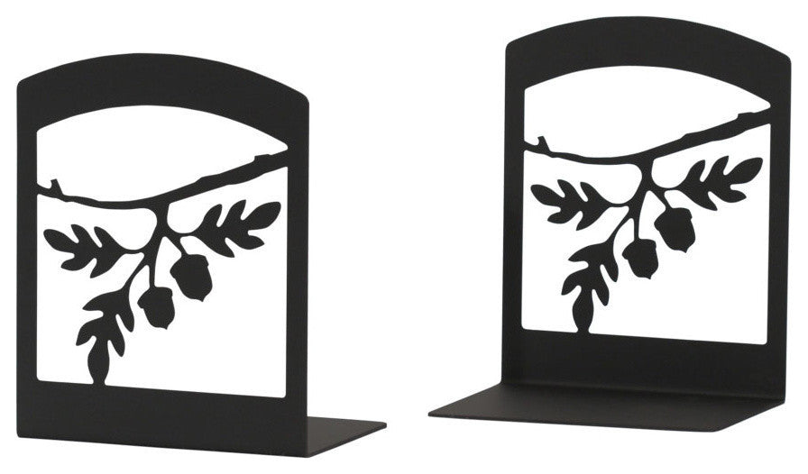 "Wrought Iron Book Ends, 5"" x6 1/4"" x3 1/2"", Acorn"