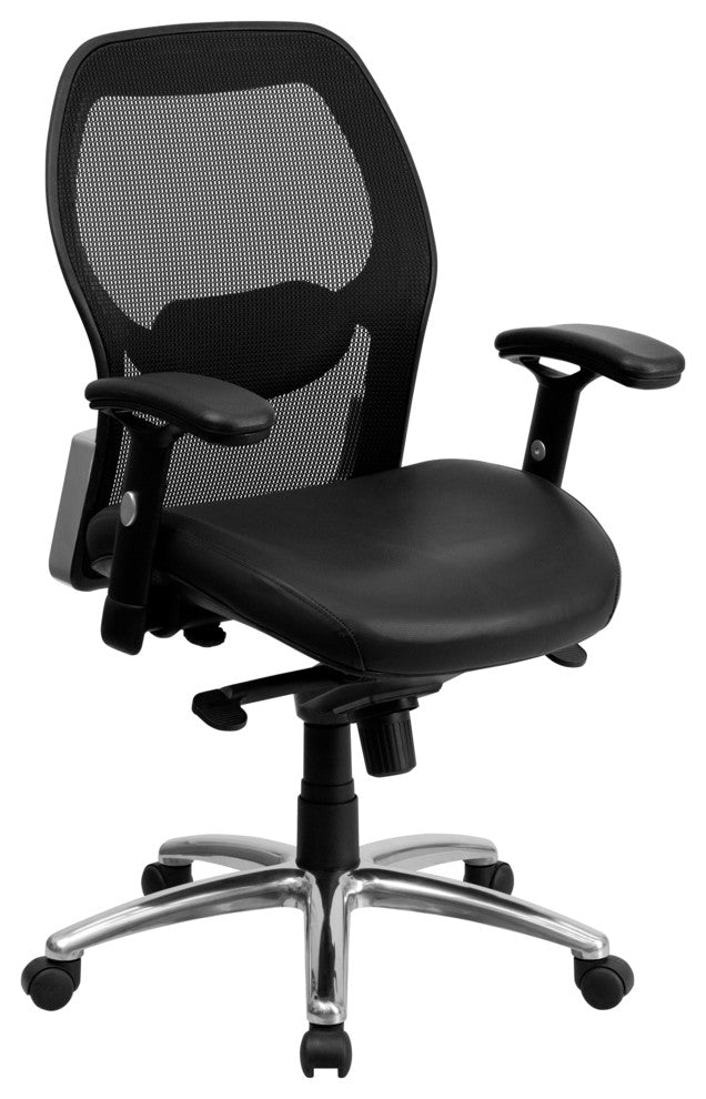 Mid-Back Black Super Mesh Executive Swivel Office Chair with LeatherSoft Seat, Knee Tilt Control and Adjustable Lumbar & Arms