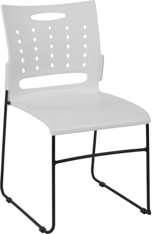 HERCULES Series 881 lb. Capacity White Sled Base Stack Chair with Air-Vent Back