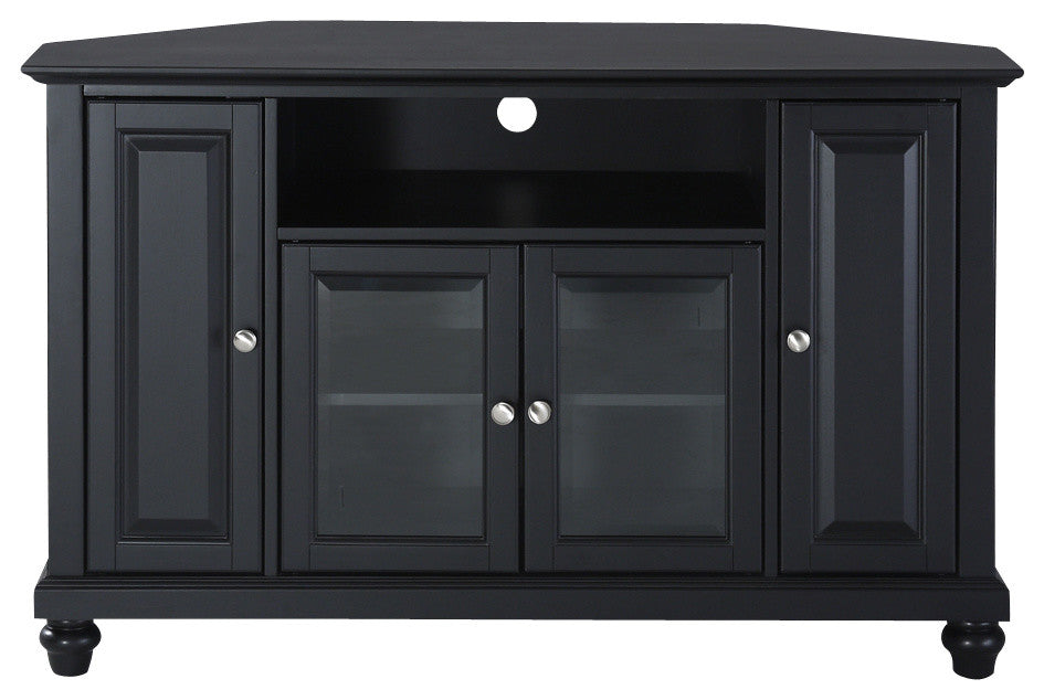 "Cambridge 48"" Corner TV Stand, Black Finish - Pot Racks Plus"