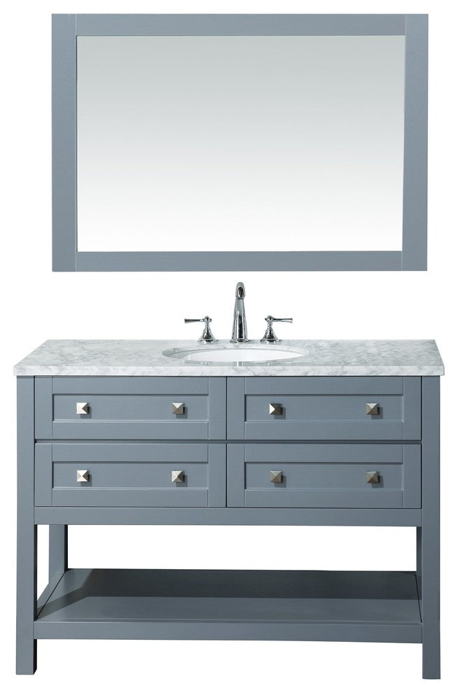 "Marla Sink Bathroom Vanity With Mirror, Gray, 60"" - Pot Racks Plus"