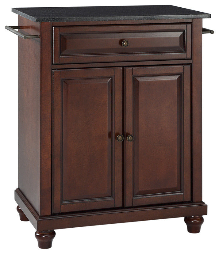 Cambridge Solid Black Granite Top Portable Kitchen Island, Vintage Mahogany - Pot Racks Plus