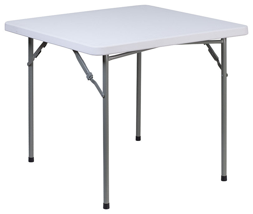 3-Foot Square Granite White Plastic Folding Table