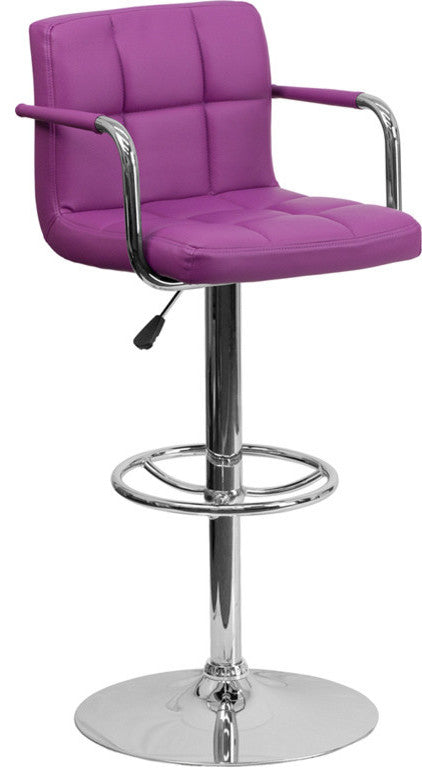 Flash Furniture Contemporary Purple Quilted Vinyl Adjustable Height Barstool with Arms and Chrome Base - Pot Racks Plus