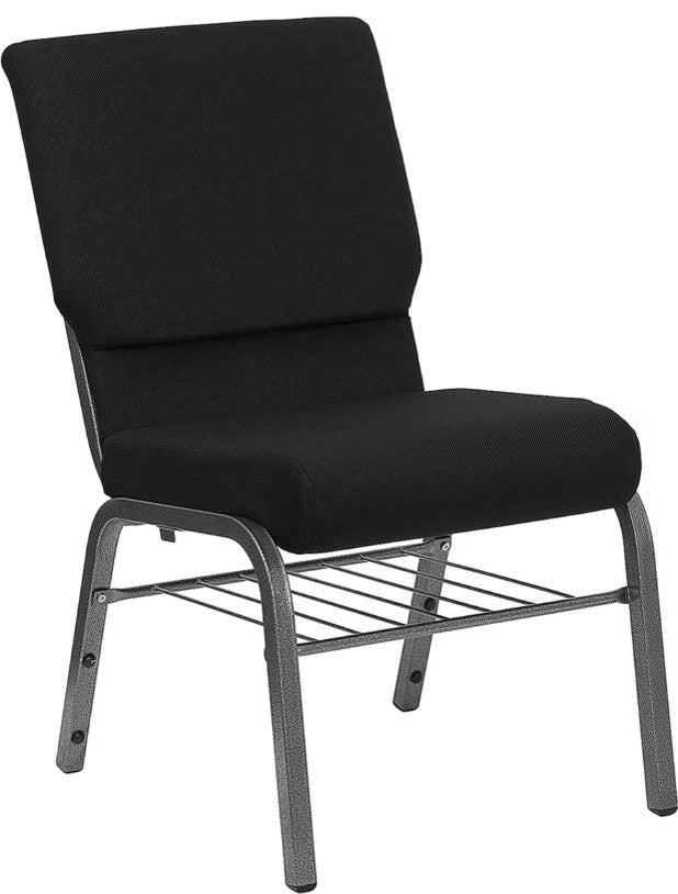 HERCULES Series 18.5''W Church Chair in Black Fabric with Book Rack - Silver Vein Frame