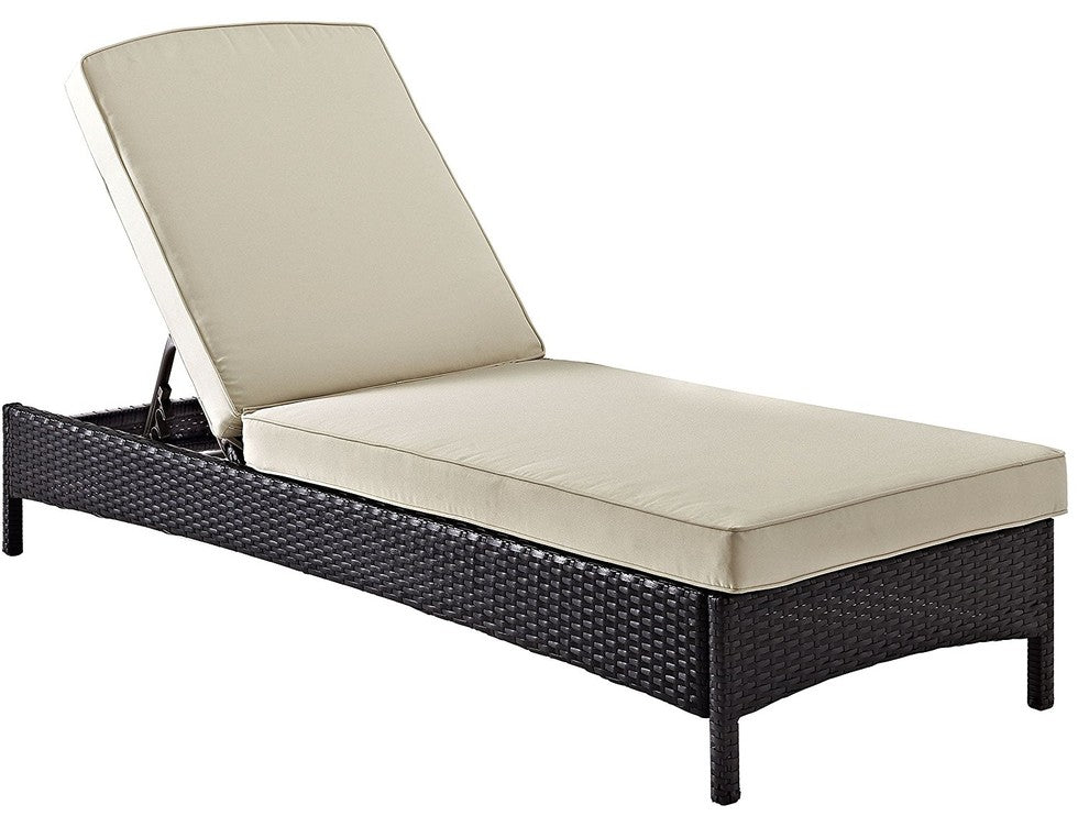 Palm Harbor Outdoor Wicker Chaise Lounge, Sand - Pot Racks Plus