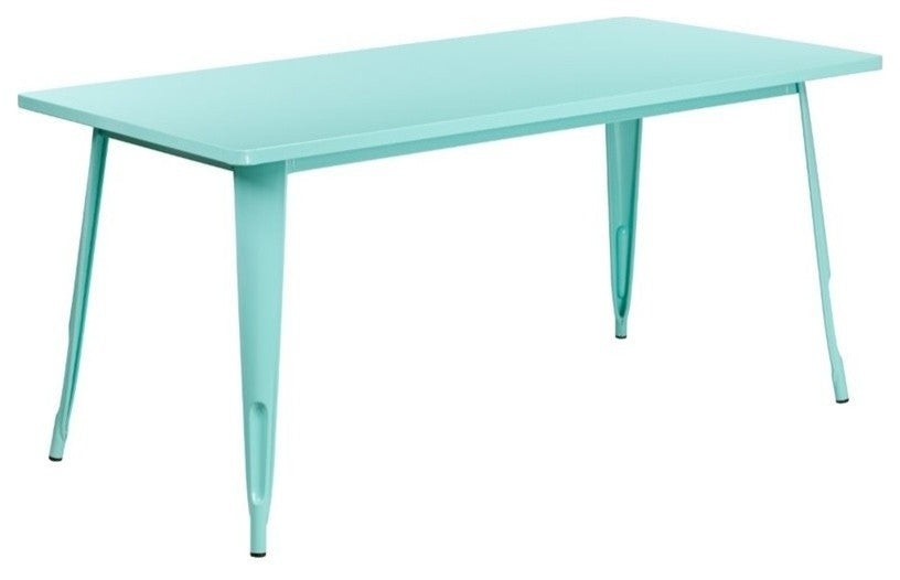 "Commercial Grade 31.5"" x 63"" Rectangular Mint Green Metal Indoor-Outdoor Table"