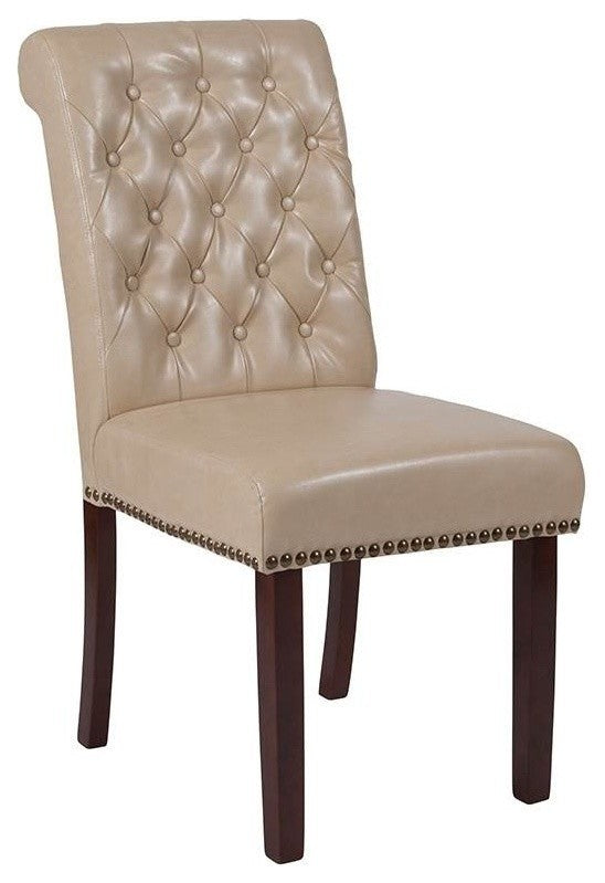 Flash Furniture HERCULES Series Beige LeatherSoft Parsons Chair with Rolled Back, Accent Nail Trim and Walnut Finish - Pot Racks Plus