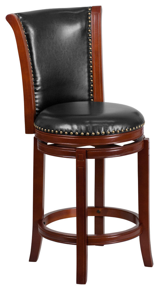 26'' High Dark Chestnut Wood Counter Height Stool with Panel Back and Black LeatherSoft Swivel Seat