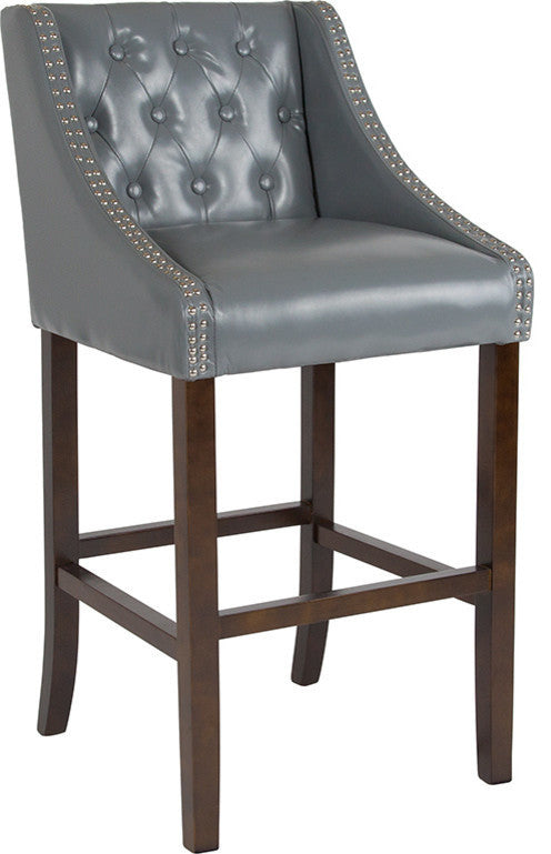"Flash Furniture Carmel Series 30"" High Transitional Tufted Walnut Barstool with Accent Nail Trim in Light Gray LeatherSoft - Pot Racks Plus"
