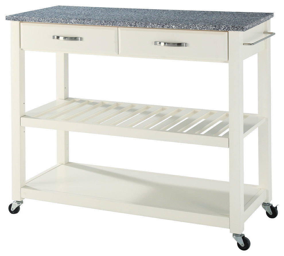 Solid Granite Top Kitchen Cart/Island With Optional Stool Storage, White Finis - Pot Racks Plus