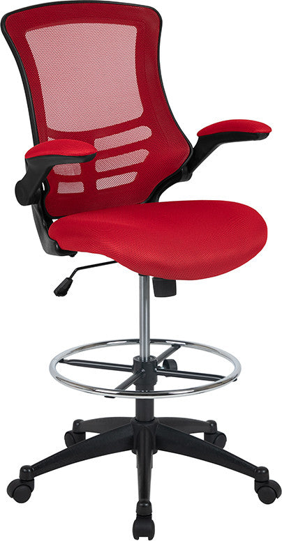 Mid-Back Red Mesh Ergonomic Drafting Chair with Adjustable Foot Ring and Flip-Up Arms
