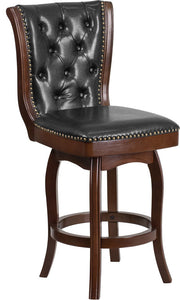 26'' High Cappuccino Wood Counter Height Stool with Button Tufted Back and Black LeatherSoft Swivel Seat