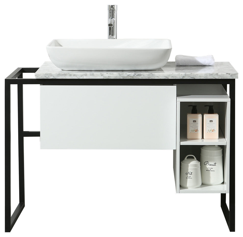 Zevan 59 Inch White Double Sink Bathroom Vanity - Pot Racks Plus