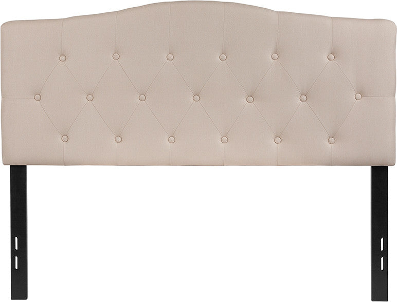 Cambridge Tufted Upholstered Full Size Headboard in Beige Fabric