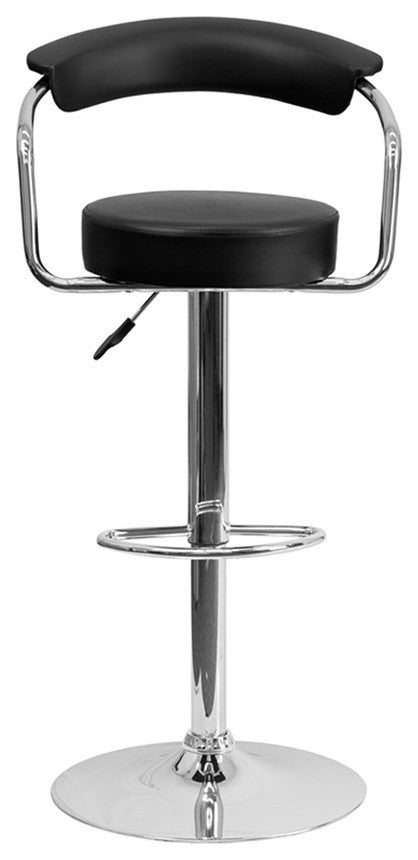 Flash Furniture Contemporary Black Vinyl Adjustable Height Barstool with Arms and Chrome Base - Pot Racks Plus