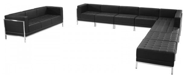 HERCULES Imagination Series Black LeatherSoft Sectional & Sofa Set, 10 Pieces
