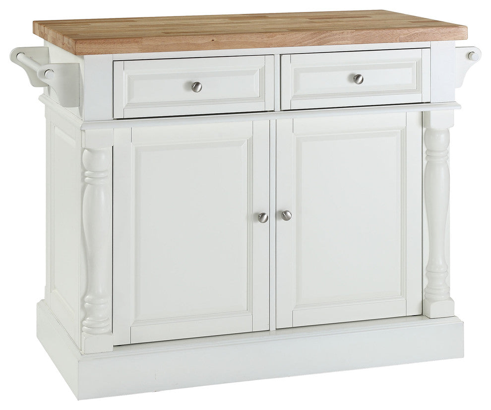 Butcher Block Top Kitchen Island, White Finish - Pot Racks Plus