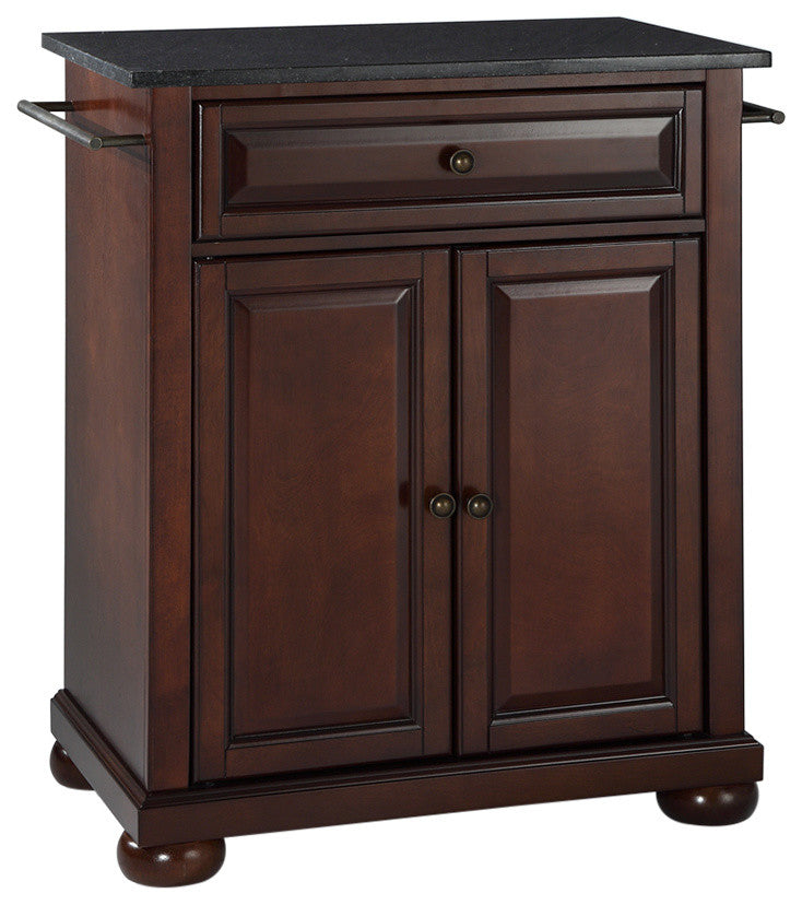 Alexandria Solid Black Granite Top Portable Kitchen Island, Vintage Mahogany - Pot Racks Plus