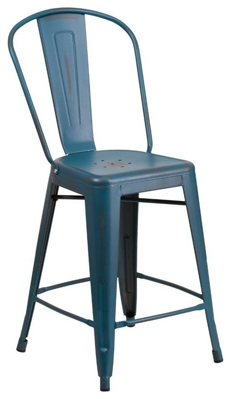 "Commercial Grade 24"" High Distressed Kelly Blue-Teal Metal Indoor-Outdoor Counter Height Stool with Back"