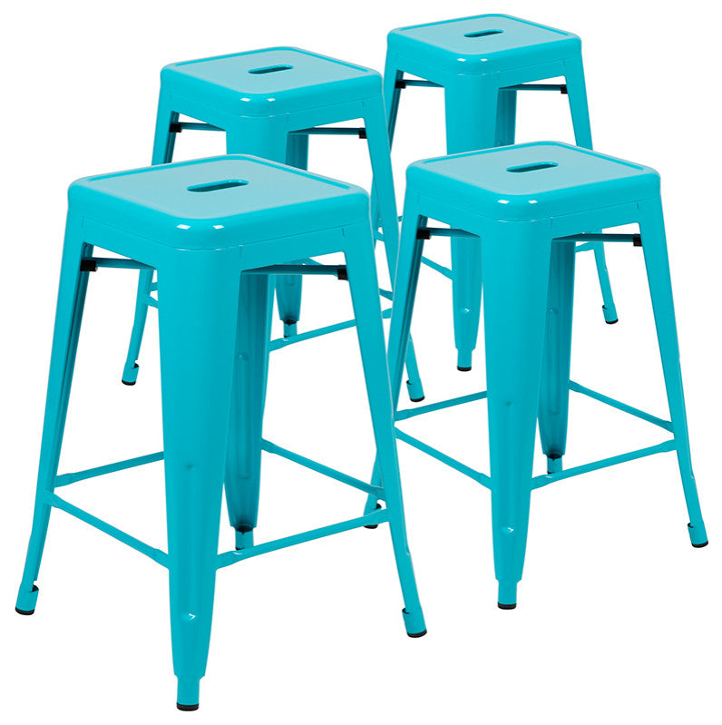 "Flash Furniture  24"" High Metal Counter-Height, Indoor Bar Stool in Teal - Stackable Set of 4 - Pot Racks Plus"