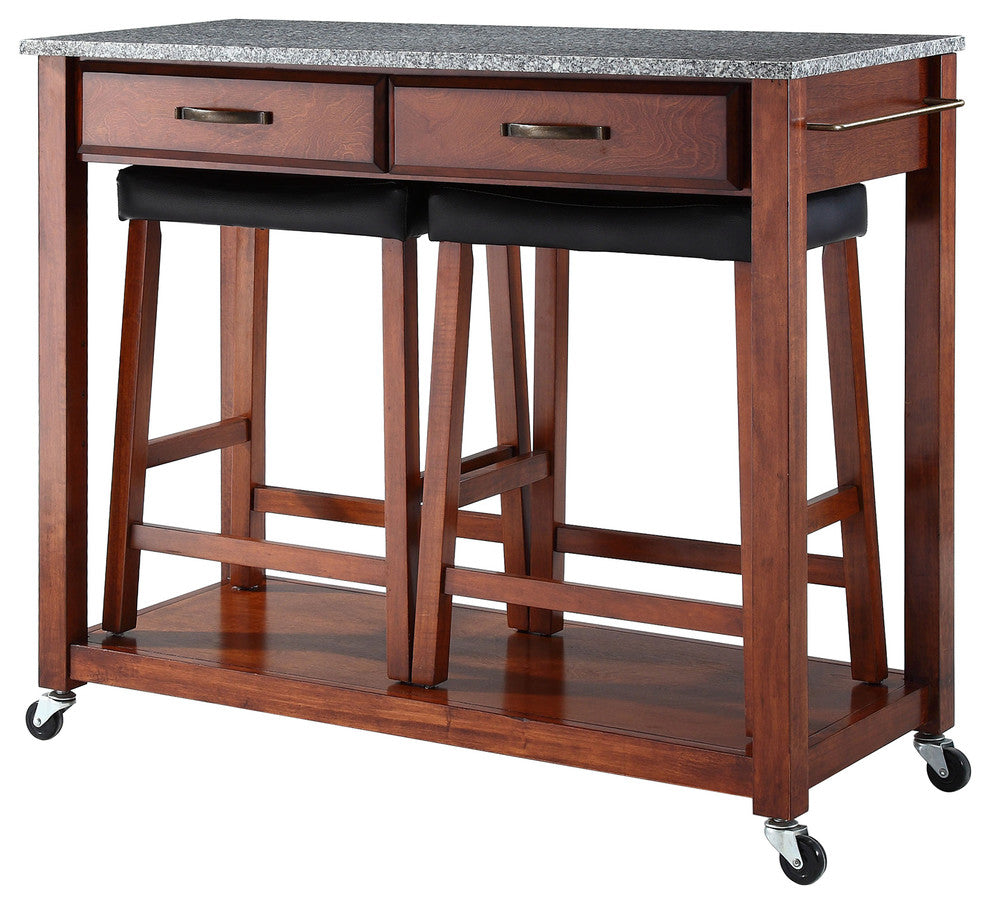 Solid Granite Top Kitchen Cart/Island, Classic Cherry Finish W/ Saddle Stools - Pot Racks Plus