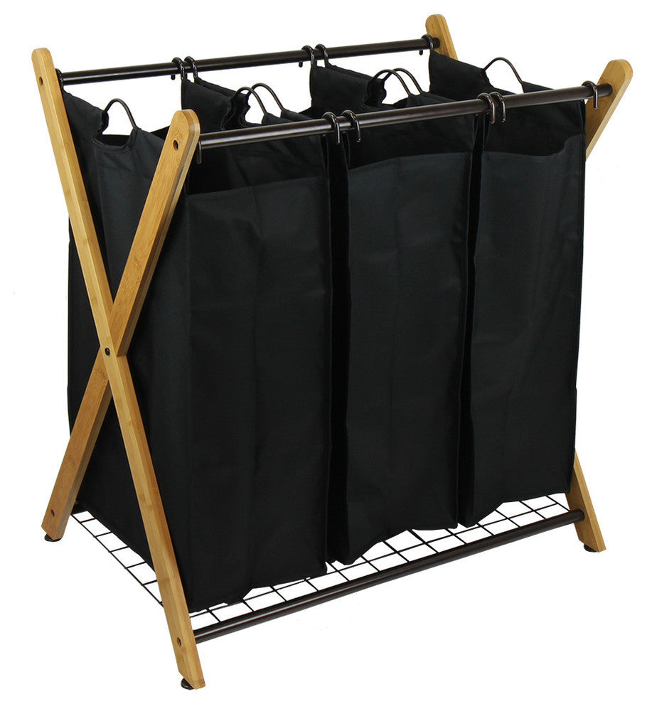 X-Frame Bamboo 3-Bag Laundry Sorter - Pot Racks Plus