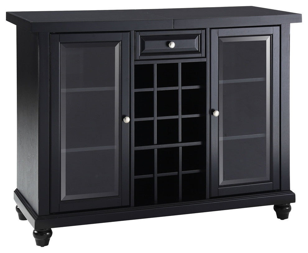 Cambridge Sliding Top Bar Cabinet, Black Finish - Pot Racks Plus