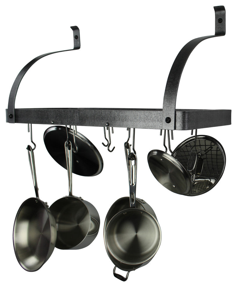 "30"" Gourmet Deep Bookshelf Wall Rack w Curved Arms & 12 Hooks Hammered Steel - Pot Racks Plus"