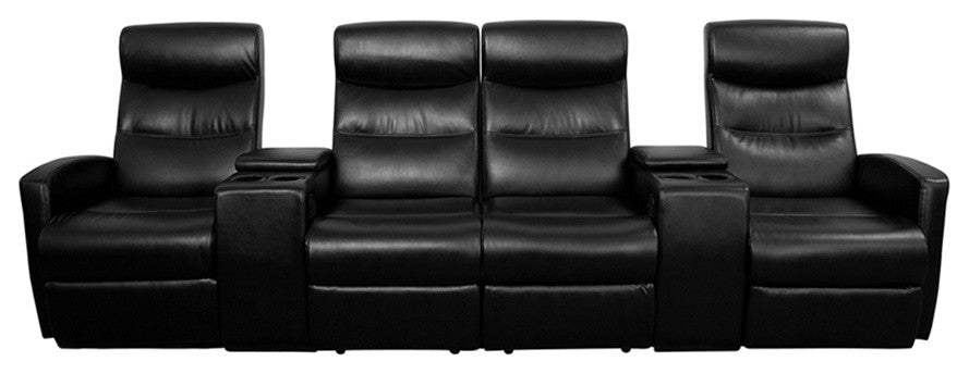 Flash Furniture   Anetos Series 4-Seat Reclining Black LeatherSoft Theater Seating Unit with Cup Holders - Pot Racks Plus