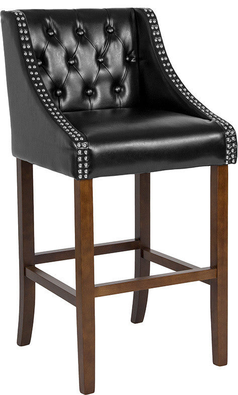 "Flash Furniture Carmel Series 30"" High Transitional Tufted Walnut Barstool with Accent Nail Trim in Black LeatherSoft - Pot Racks Plus"