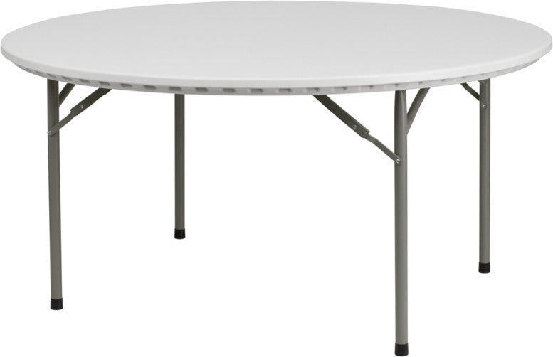 5-Foot Round Granite White Plastic Folding Table