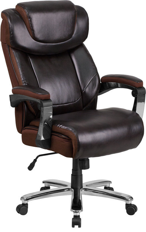 Big & Tall Office Chair | Brown LeatherSoft Executive Swivel Office Chair with Headrest and Wheels