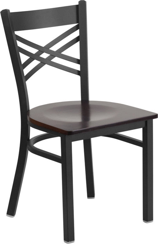 HERCULES Series Black ''X'' Back Metal Restaurant Chair - Walnut Wood Seat
