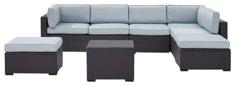 Biscayne Wicker 2 Loveseats, 1 Armless Chair, Coffee Table, 2 Ottomans, Mist - Pot Racks Plus