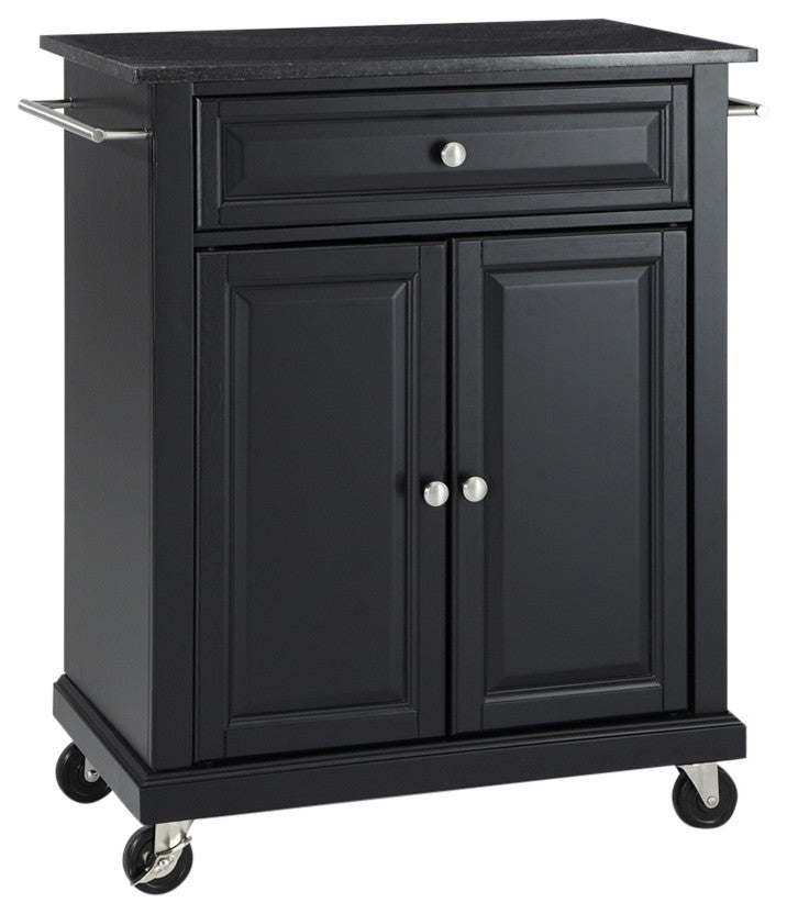 Solid Black Granite Top Portable Kitchen Cart, Island, Black Finish - Pot Racks Plus