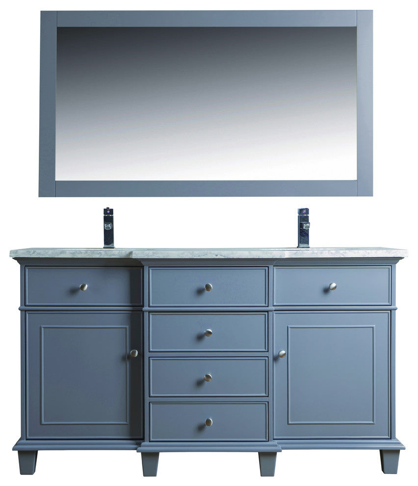 "Cadence Bathroom Vanity With Mirror, Gray, 22""x72""x34.5"" - Pot Racks Plus"
