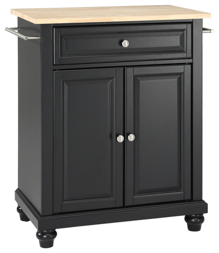 Cambridge Natural Wood Top Portable Kitchen Island, Black Finish - Pot Racks Plus