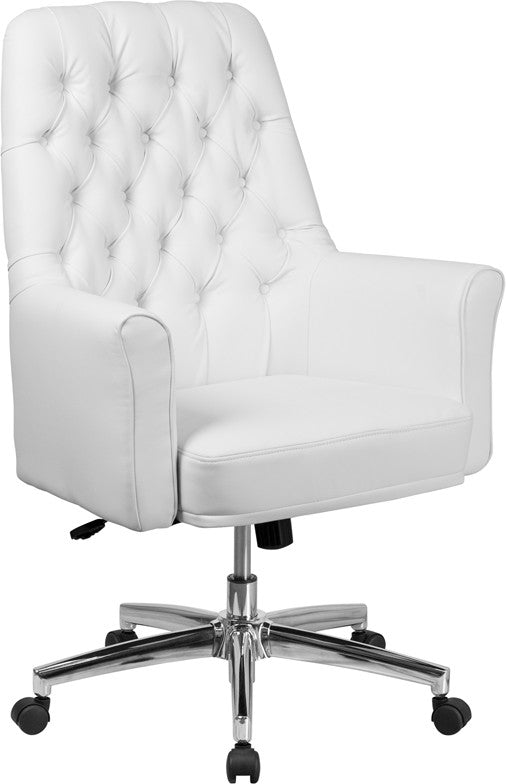 Mid-Back Traditional Tufted White LeatherSoft Executive Swivel Office Chair with Arms