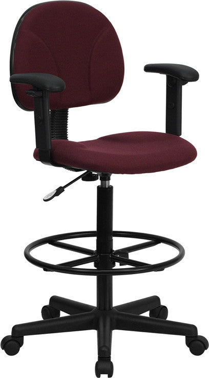 Burgundy Fabric Drafting Chair with Adjustable Arms (Cylinders: 22.5''-27''H or 26''-30.5''H)