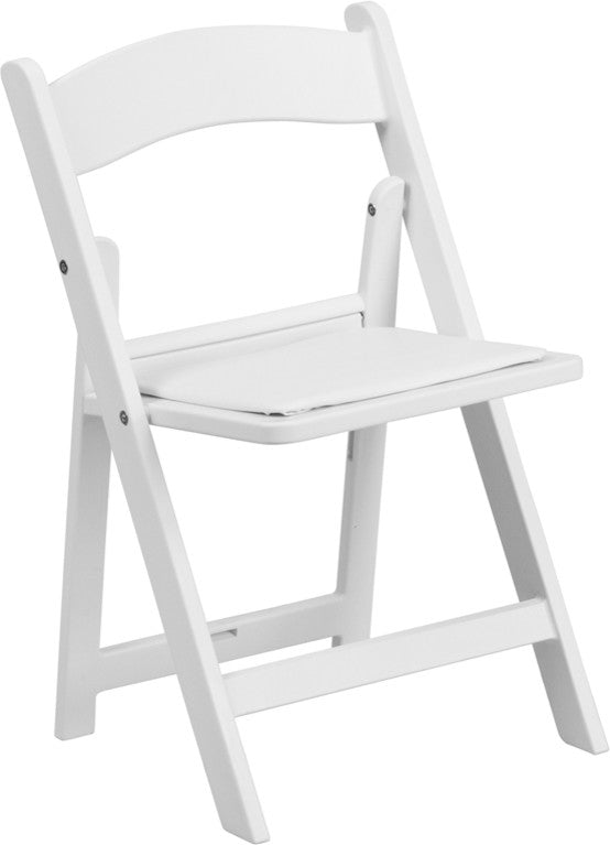 Flash Furniture   Kids White Resin Folding Chair with White Vinyl Padded Seat - Pot Racks Plus