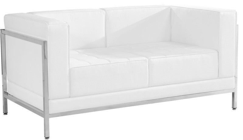 HERCULES Imagination Series Contemporary Melrose White LeatherSoft Loveseat with Encasing Frame