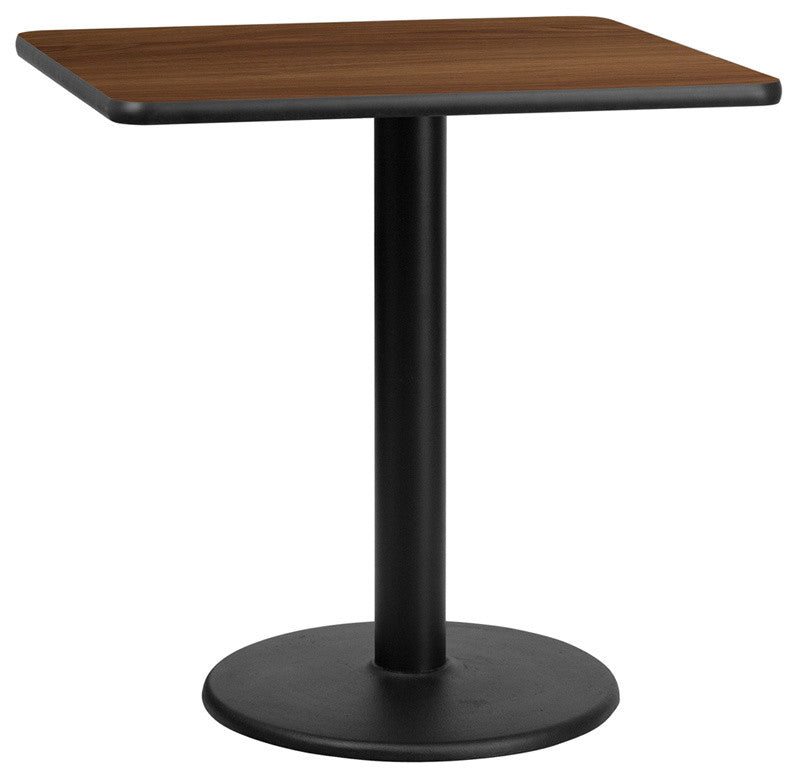 30'' Square Walnut Laminate Table Top with 18'' Round Table Height Base