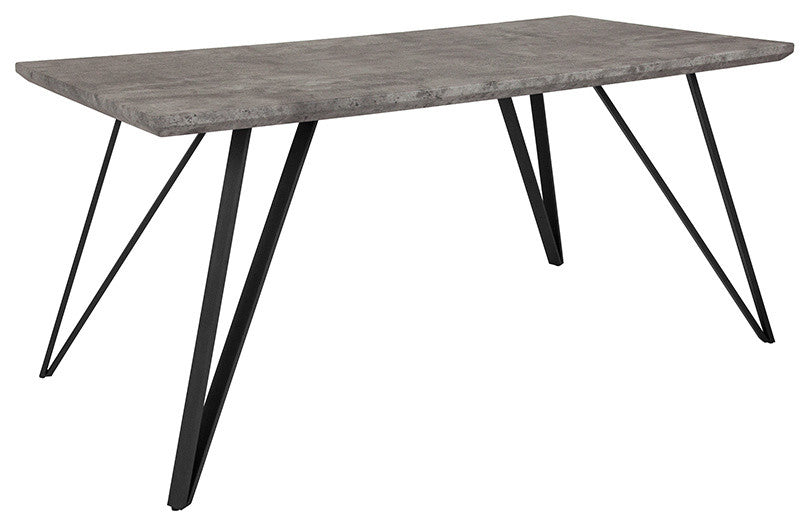 "Flash Furniture Corinth 31.5"" x 63"" Rectangular Dining Table in Faux Concrete Finish - Pot Racks Plus"