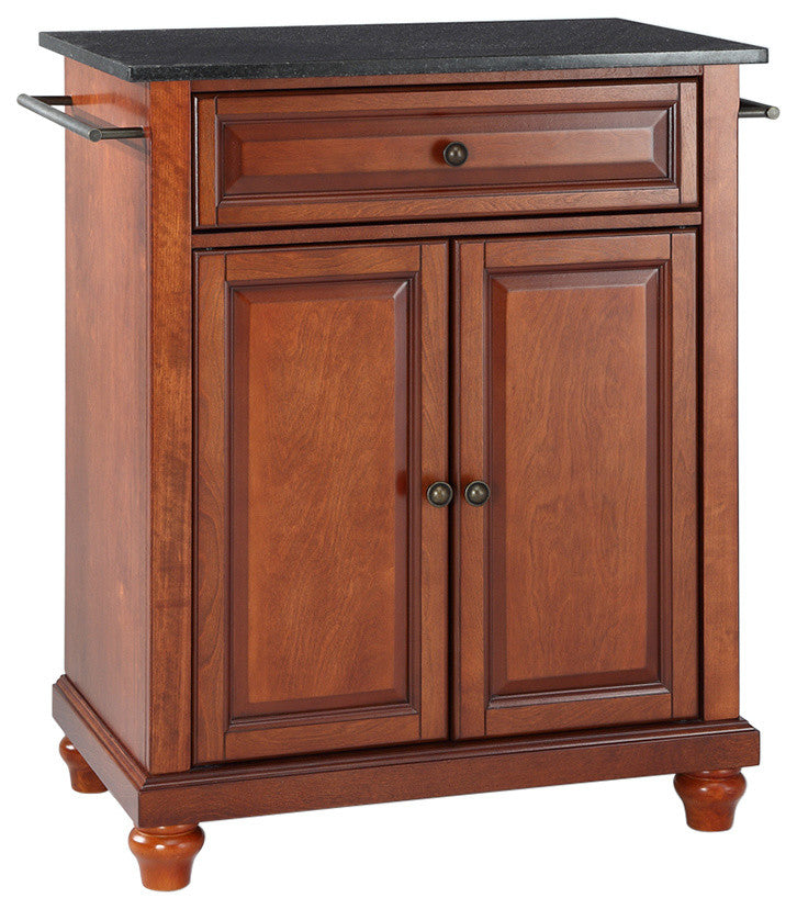 Cambridge Solid Black Granite Top Portable Kitchen Island, Classic Cherry - Pot Racks Plus