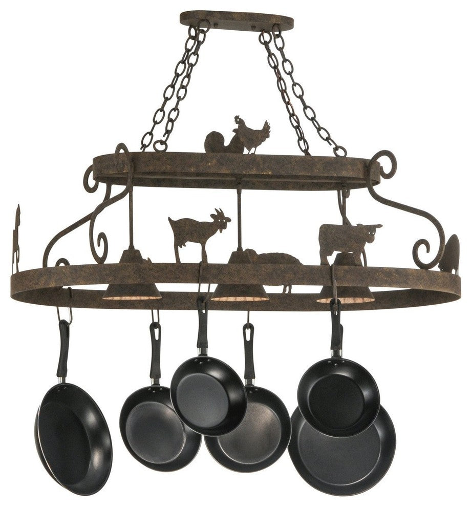 "46""L Barn Animals W/Downlights Pot Rack - Pot Racks Plus"
