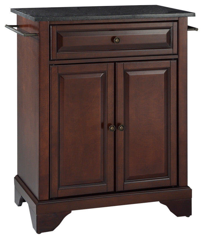 LaFayette Solid Black Granite Top Portable Kitchen Island, Vintage Mahogany - Pot Racks Plus