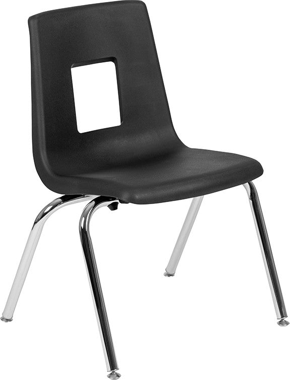 Advantage Black Student Stack School Chair - 16-inch